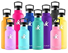 KollyKolla Trinkflasche Edelstahl Wasserflasche 350ml Standardmund Isolierflasche mit Perfekte Thermosflasche für das Laufen, Fitness, Yoga, Im Freien und Camping | BPA FREI