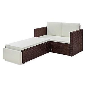 SVITA Libby Polyrattan Lounge Gartenset Sofa Garnitur Polyrattan Gartenmöbel (Braun)