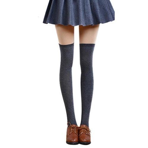 en FORH Frauen Klassisch lange Baumwolle Halterlose Strümpfe Reizvolle Strumpfhosen Strümpfe warm Stricken Kniestrümpfe Elastisch Sportsocken (Dunkel grau) ()