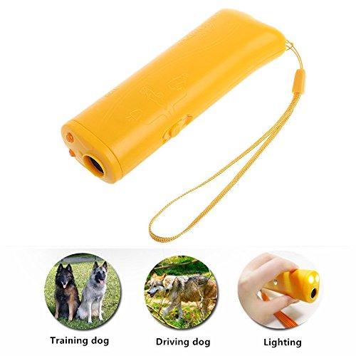 JunBo 3 in 1 Ultraschall Hunde Anti-barke Ultraschall Anti-Bell Hundetrainer Tragbar mit LED Taschenlampe (Gelb)