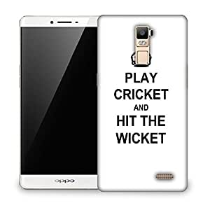 Snoogg Play Cricket and Hit Wicket White Designer Protective Back Case Cover For Oppo R7 PLUS