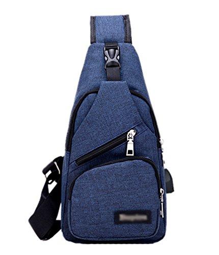 YOUJIA Sac de Sports avec Un Prise USB Sacs à Dos porté Travers Sac de Toile pour Hommes Femmes Légère Daypack de Voyage Randonnée