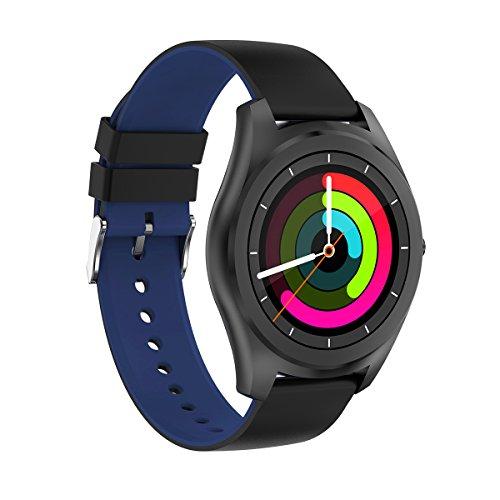 DIGGRO DI03 - Smartwatch mit Herzfrequenz Sensor ( Bluetooth Telefon, Silikagel Armband, IP67 Wasserdicht, Staubdicht, 1,15 cm ultra dünn, Pulsmesser, Aktivitätstracker, Schrittzähler, Kalorienzähler, Schlafanalyse, sesshafte Erinnerung, Anti-verloren für IOS Android) (Schwarz&Blau)
