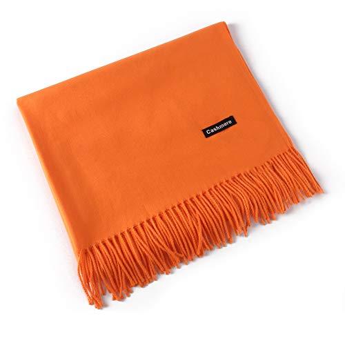 MMYOMI Frauen Männer Liebhaber Unisex glatt Kaschmir Schal 100% super weiche Plaid solide Pashmina Wrap Schal Schal (Orange) -