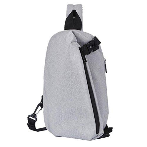 UFACE Mode GroßE KapazitäT Multifunktionale Tasche Brust Pack Taschen Crossbody Casual Sling Bag Leichte Schultertaschen (Grau)