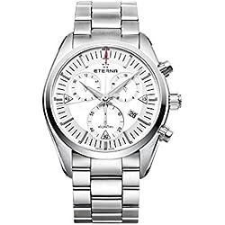 Reloj de cuarzo Eterna Chrono KonTiki, ETA 251.262, Blanco, Brazalete de acero