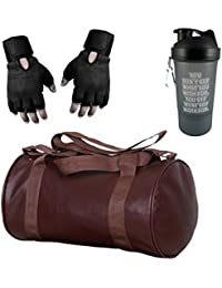 Hyper Adam 23cm Gym-Bag, Protein Shaker and Gym-Glove with Wrist Support Combo (Brown and Black)