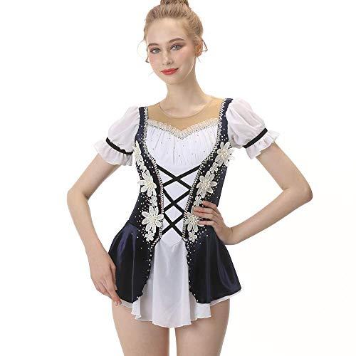 Eiskunstlauf-Kleid Für Mädchen, Handarbeit Eislaufen Wettbewerb Berufskostüm Mit Reißverschluss Kristalle Appliques Kurzarm Rollschuhkleid Weiß Schwarz,12