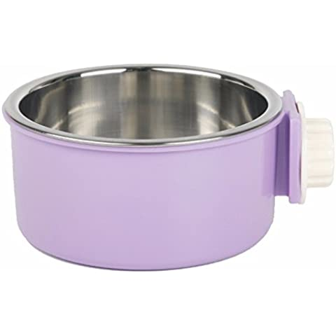 ZPP-Suministros de mascota PERRO PERRO PERRO cuencos de acero inoxidable, Dog Bowl cuenco colgante jaula cuelga recipiente fijo,púrpura