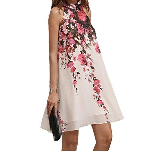 Sommer Amlaiworld bunt blume drucken Strand kleider damen ärmellos Chiffon Kleid locker mode Kurz kleidung für Mädchen (XL, Weiß)