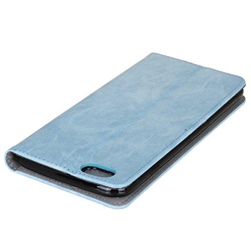 BONROY® Coque pour Apple iPhone 6s Plus(5,5 Zoll),Housse en cuir pour Apple iPhone 6s Plus(5,5 Zoll),imprimé étui en cuir PU Cuir Flip Magnétique Portefeuille Etui Housse de Protection Coque Étui Case bleu clair