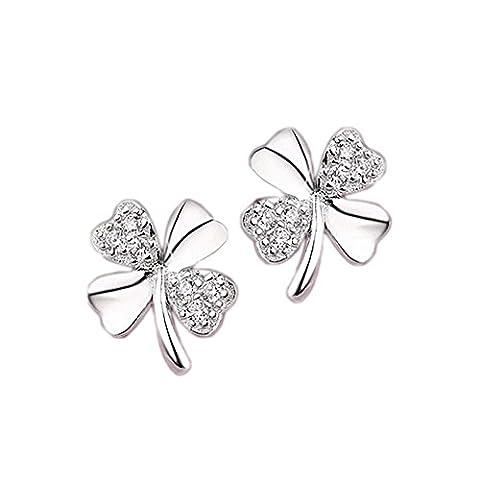 Tendance Boucles d'oreilles feuille de trèfle pour femmes enfants Fashion élégant cristal argent sterling 925 porte-bonheur