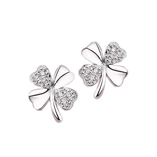 Kristall-kind (ELEGANCE PARISIENNE Modische Kleeblatt-Ohrringe Echt Silber 925 Zirkon Kristall Für Frauen Damen Kinder Mädchen Glitzer Strass)