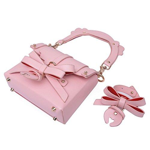 Mode-Weide-Nagel-Bogen-kleine Quadratische Beutel-Schulter-handliche Handtaschen Nostrappink