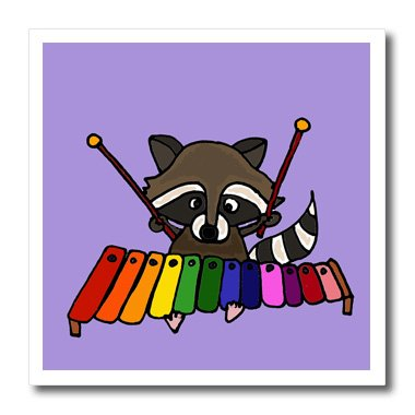 3dRose ht_200457_2 Fun Raccoon Playing xylophone Iron on Heat Transfer For White Material, 6 x 6