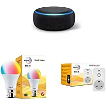 Smart living room bundle: 1 Echo Dot (Black) + 1 Wipro 9W bulb + 1 Wipro 10A plug