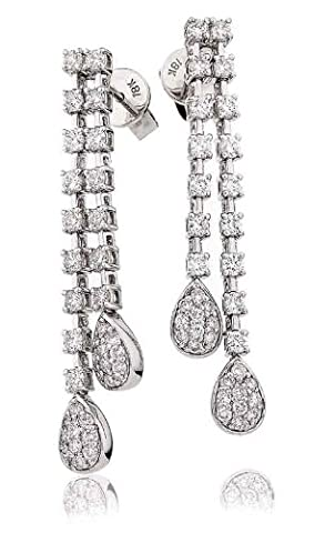 1.25CT Certified G/VS2 Round Brilliant Cut Claw Set Two Row with Pave Pear Shape Diamond Drop Earrings in 18K White Gold