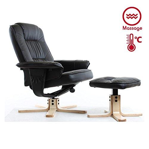 Relaxsessel COMFORT inklusive Wärme und Massagefunktion, Fernsehssessel Massagesessel mit Hocker in schwarz