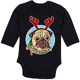 Shirtracer Weihnachten Baby - Merry Pugmas! - 3-6 Monate - Schwarz - BZ30 - Baby Body Langarm