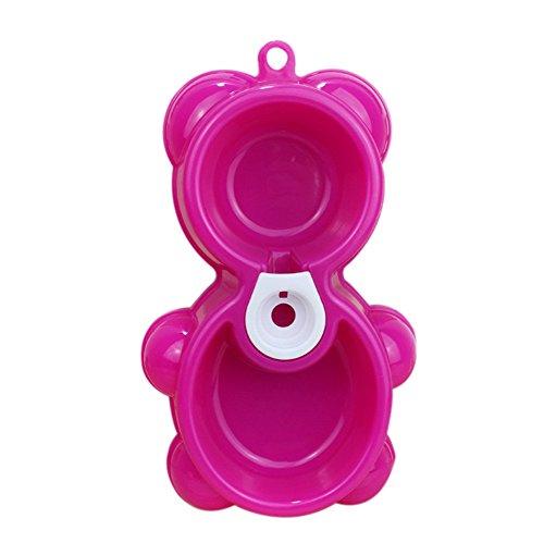 Itemer plastica pet bowl 2in 1doppia funzione cane gatto automatico acqua dispenser food bowl bear modello (rosa)