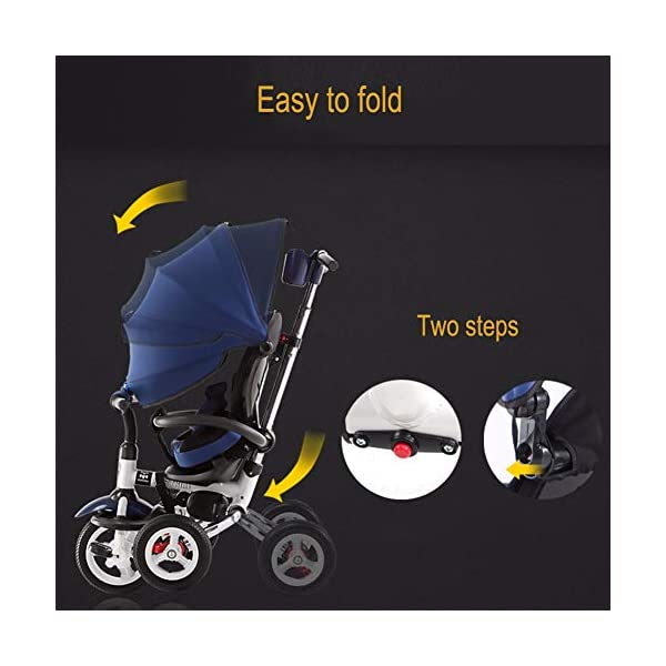 GSDZSY - 3 IN 1 Children Tricycle Foldable,With detachable push rod and awning, Rain and UV protection ,Push rod can control steering, 1-6 years old GSDZSY ❀ Material: High carbon steel + ABS + rubber wheel, suitable for children from 6 months to 6 years old, maximum load 30 kg ❀ Features: The push rod can adjust the height and control direction, the seat can rotate 360; the baby can lie flat, adjustable umbrella, suitable for different weather conditions ❀ Performance: high carbon steel frame, strong and strong bearing capacity; non-inflatable rubber wheel, suitable for all kinds of road conditions, good shock absorption, seat with breathable fabric, baby ride more comfortable 6