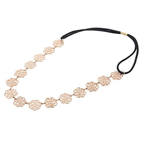 Neue schöne metallische süße Lady Hollow Rose Blume elastische Haar Band Mode Stirnband - Gold von durch Boolavard® TM (Rosa Stirnband Elastisches)