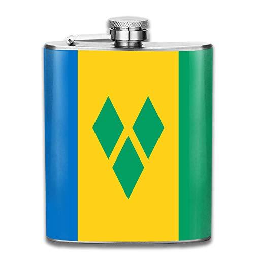 St. Vincent und die Grenadinen Flagge tragbare Flachmann - 7 Unzen Edelstahl Flasche Pocket Liquor für Whisky Rum und Wodka Männer Top Geschenk