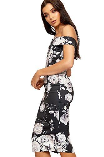 WEARALL Damen Blumen- Druck Bardot Mini Kleid Damen Weg Schulter Ärmellos Bodycon - 36-42 Schwarz