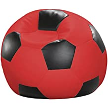 Fútbol de Saco de Asiento Cojín Cojín de Suelo Relax sillón Sitting Bag Piel sintética Rojo