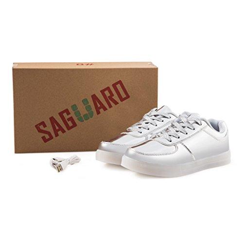 SAGUARO® Homme Femme Chaussure à Led Lumineuse 7 Couleur USB Charge Chaussure de Sports Baskets Argent