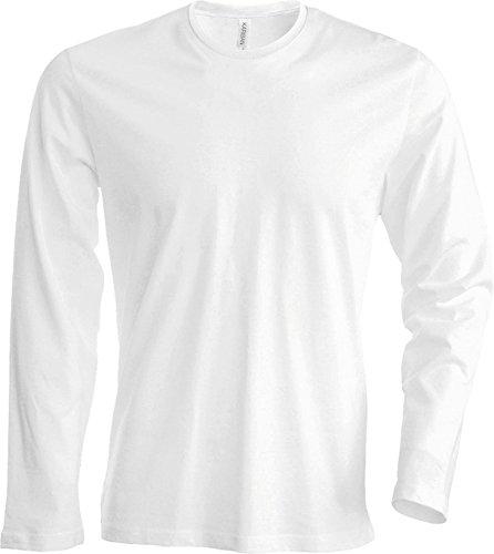 Herren T-Shirt langarm (L, white)