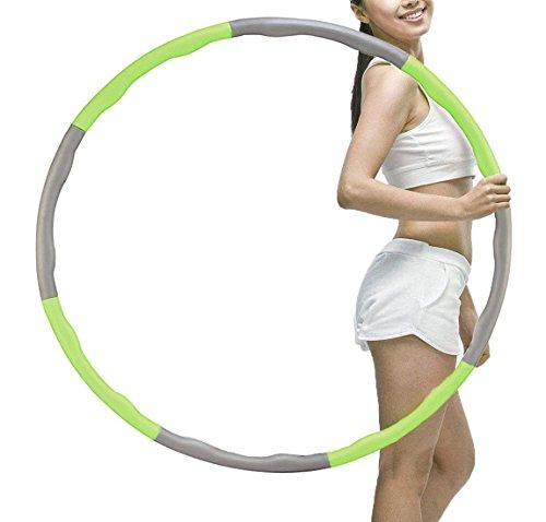 YIJIAOYUN Verbindung Beschwerter Hula Hoop für Aerobic-Training, Perfekt für Taille Abnehmen Fitness Workout, Wave, Form Design schützen Lendenwirbelsäule und masagge Taille, Grün -