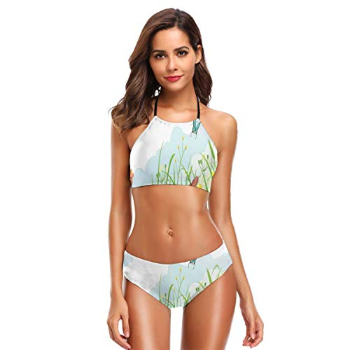 Women's Swimwear Sexy Halter Two Piece Bikini Sets Swimsuits,Clouds with Spring Meadow with Butterflies and Green Grass Chamomile Blossom Garden L,Bathing Suits Butterfly Meadow Bunny