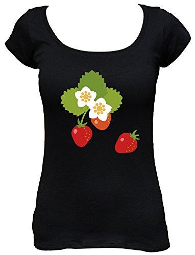 Sinnlichen Erdbeere (Raxxpurl Erdbeeren Fun Damen Boat Neck T-Shirt_schwarz_XL)