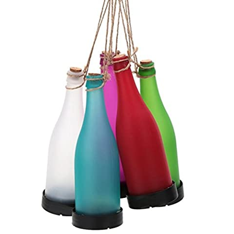 WINOMO Pack of 5 Solar Powered LED Bottle Lamp Hanging Glass Wine Bottle Landscape Lights for Garden Yard Lawn Party Decor (White Red Pink Blue Green)