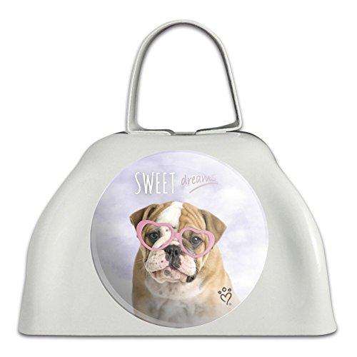 Brille für Hunde und Welpen, Motiv Britische Bulldogge, Metall, Weiß