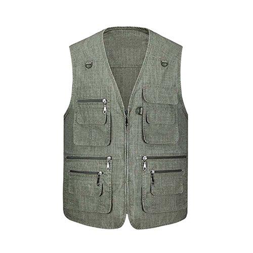 Cysincos Herren Outdoor Weste Jagd Anglerweste Dünn Bikerweste Multi-Tasche mit Reißvers