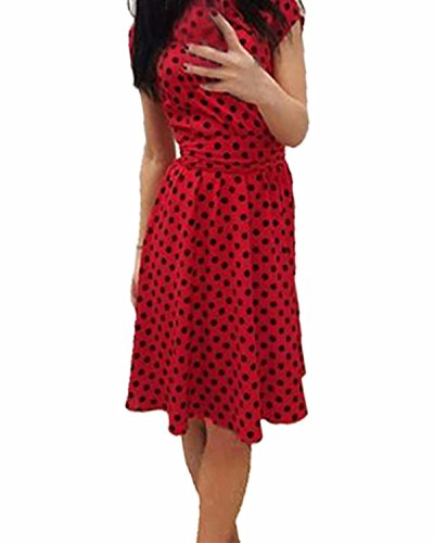 ZANZEA Femme Royaume Vintage Slim Dress Cocktail Rockabilly Pois Swing Patineurs Midi Robe Rouge