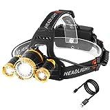 LED Stirnlampe, Laluztop Kopflampe LED Akku USB Wiederaufladbare Stirnlampe mit 3 LED 4 Modi 5000LM Wasserdicht, Perfekt für Spazieren Joggen Wandern Campen