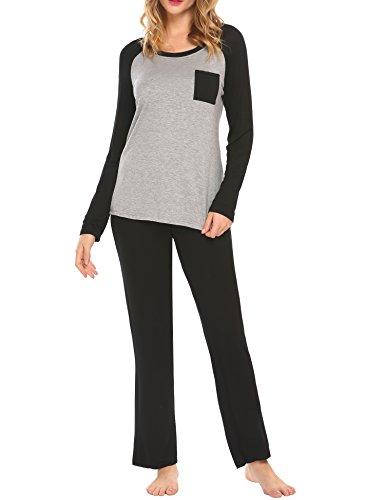 MAXMODA Damen Modal Round Neck Sleepwear Lang Sleeve mit Shorts Pajama Set Schwarz XXL -
