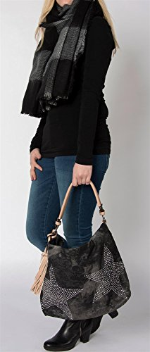 styleBREAKER Jeans Beuteltasche mit Stern Strass Applikation im schimmernden Antik-Look, Schultertasche, Damen 02012035 Dunkelgrau-Schwarz