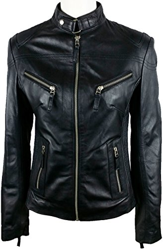 UNICORN Frauen Echt Leder Jacke Schwarz Größe 38 #Z1 (Leder Petite Schwarz)