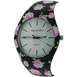 Elizabeth Rose Pink Black Floral Vintage Design Ladies Quartz Watch (01c)