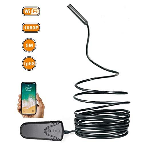 HWENJ Endoscopio Inalámbrico Semirrígido para Cámara De Inspección WiFi, 2.0 Megapíxeles 1080 P HD Boroscopio, Cámara De Serpiente De Tubo Impermeable IP68 con 8 Luces LED