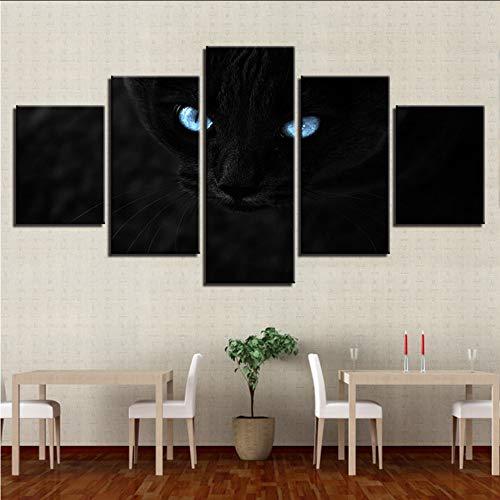 Wuwenw Stillleben Leinwand Malerei Hd Gedruckt 5 Stücke Schwarze Katzen Blaue Augen Bilder Rahmen Für Wohnzimmer Wandkunst Modular Poster Dekor, 4X6 / 8/10 Zoll, Mit Rahmen