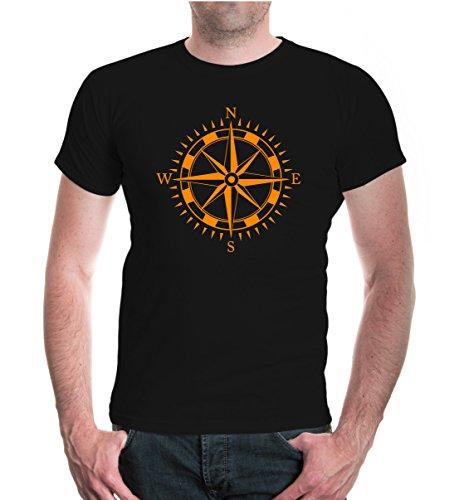 buXsbaum T-Shirt Kompass-L-Black-Neonorange Basic-marine-navigation