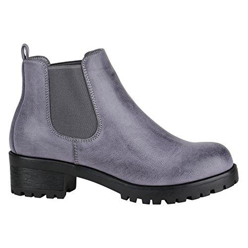 Damen Schuhe Chelsea Boots Plateau Stiefeletten Profilsohle 144367 Blau Schwarz 38 Flandell