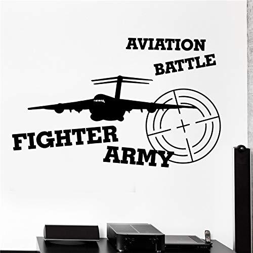 jiushizq Wand Vinyl Flugzeug Luftfahrt Kämpfer Armee Krieg Garantierte Qualität Aufkleber Modernes Design Küche Wanddekor Wandtattoos Weiß 80 x 49 cm