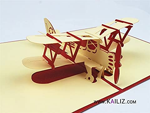 Kailiz Bleu/rouge 3d Réplique d'un avion biplan 3d carte d'anniversaire