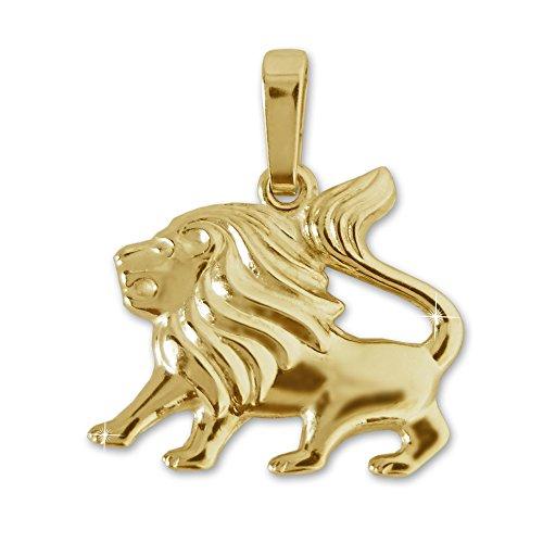 Löwen Gold Anhänger (CLEVER SCHMUCK Goldener Sternzeichen Anhänger kleiner Löwe 16 x 13 mm glänzend und beidseitig plastische Form 333 GOLD 8 KARAT 333)